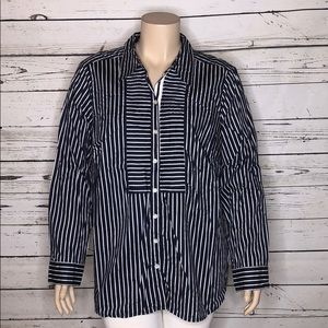 Charter Club 24W Navy Striped Pleated Button Shirt